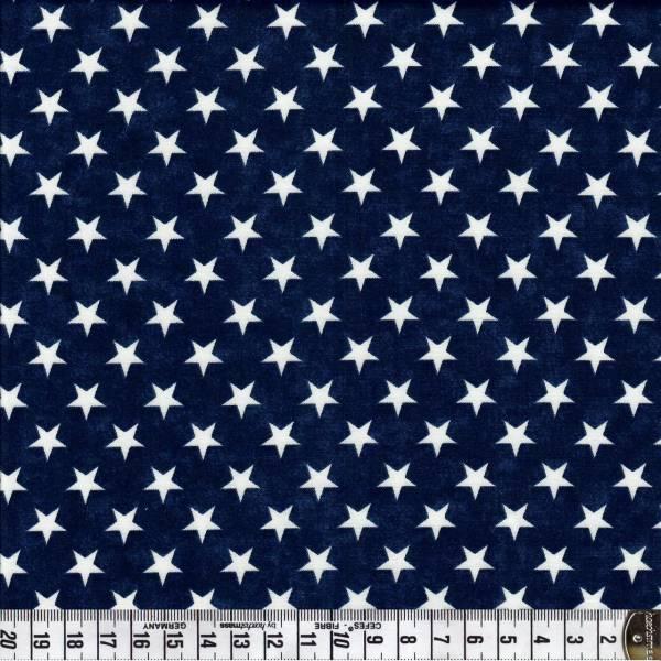 Sterne - weiß auf blau - Patchworkstoff