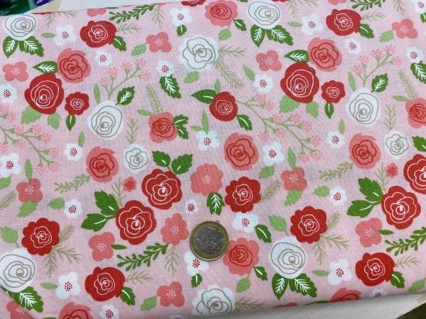 Blumen - rosa - Patchworkstoff