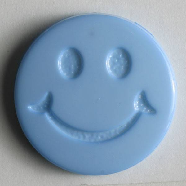 Smiley - Knopf - blau - 19mm