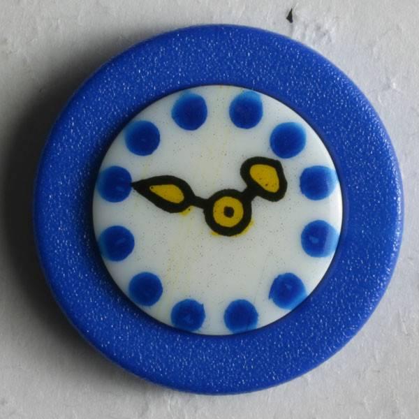 Kinderknopf - blau - Uhr - 18 mm