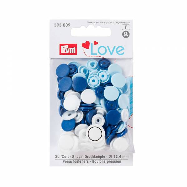 Color Snaps - Druckknöpfe - 30 Stück - blau-weiß