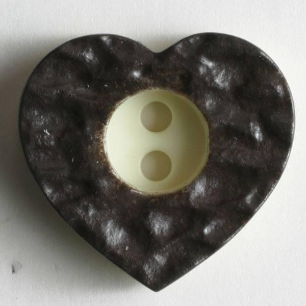Modeknopf - Herz braun - 20 mm