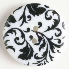 Modeknopf Ranke - schwarz - weiß - 25 mm