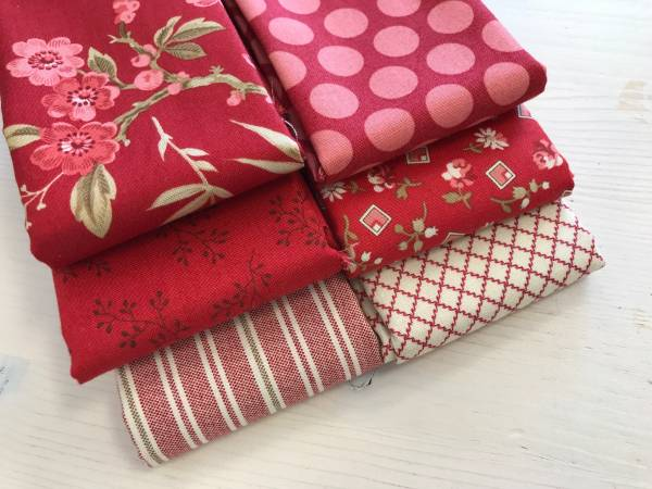 Little Sweetheart - Stoffpäckchen - rot - 6 Fat Quarter