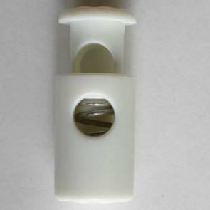 Kordelstopper - rund mit Feder - weiß - 23 mm