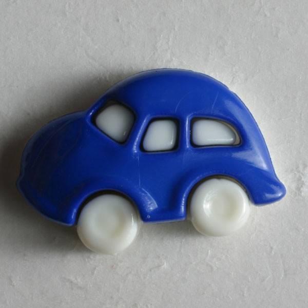 Kinderknopf - Auto - blau - 20 mm