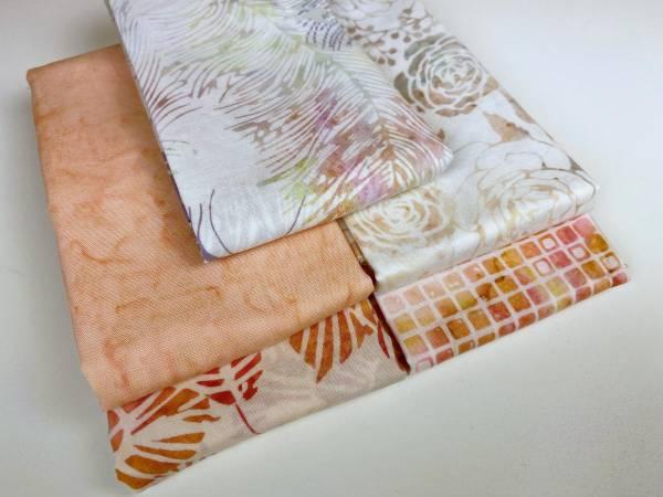 Stoffpäckchen - Batik - apricot - 5 Fat Quarter je 50 x 55 cm
