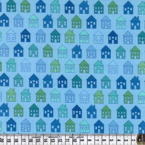 Häuser - Haus - blau - Quilters Basic - Patchworkstoff