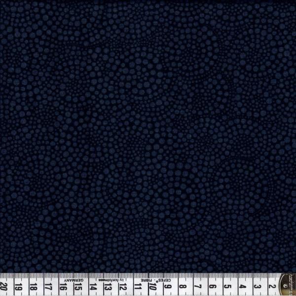 Spiralen - gepunktet - grau auf schwarz - Patchworkstoff