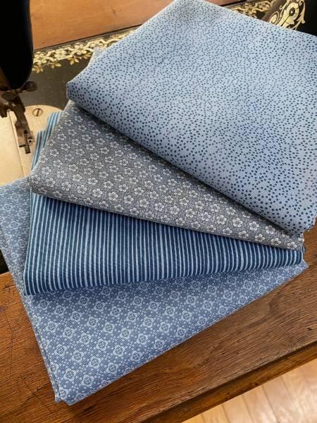 Stoffpäckchen - Nr. 2 - Hannah blau - 4 Fat Quarter - je 50 x 55 cm