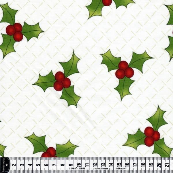 Ring in the Holly Days - weiß - Weihnachtsstoffe