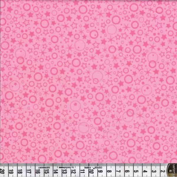 Punkte und Sterne - rosa - Patchworkstoff