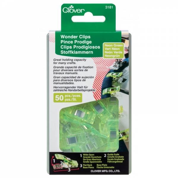 Wonder Clips Stoffklammern - neon grün - 50 Stück