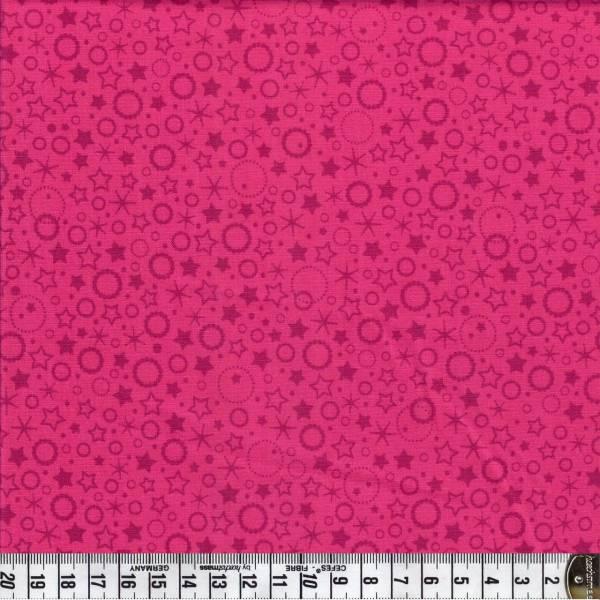 Punkte und Sterne - pink - Patchworkstoff