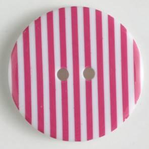 Knopf - pink - weiß - gestreift - 20mm