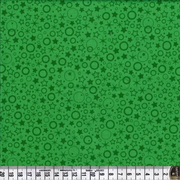 Punkte und Sterne - grün - Patchworkstoff