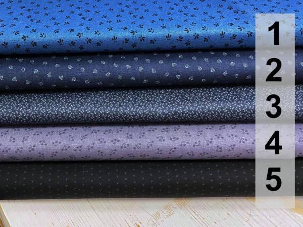 Kleine Muster - blau - anthrazit - schwarz - Meterware