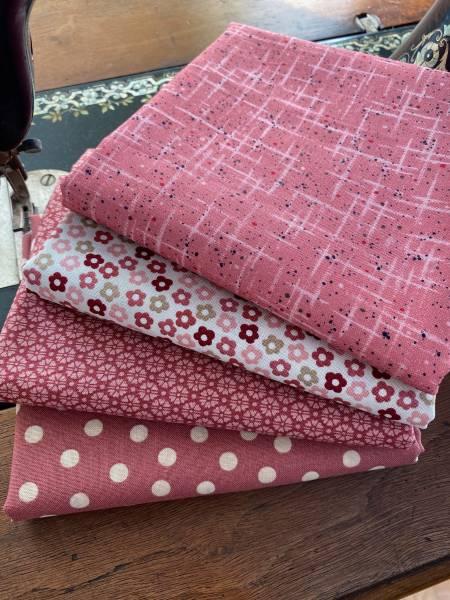 Stoffpäckchen - Nr. 2 - Hannah rosa - 4 Fat Quarter - je 50 x 55 cm