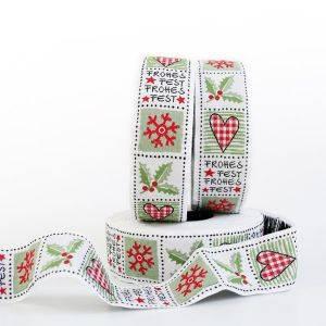 Webband Weihnachtsquadrate weiß-grün 3 cm breit