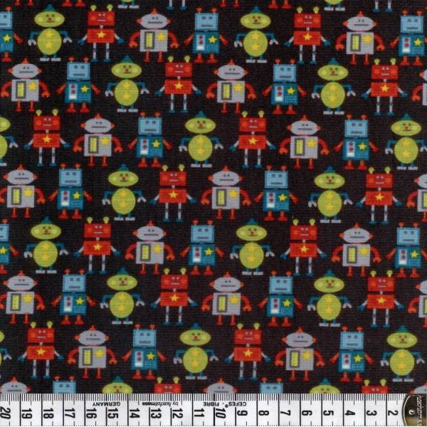 Little Monster - Roboter - blau - Patchworkstoff