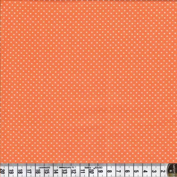 Bonjour Mon Amour - Weiße Punkte auf Orange - Patchworkstoff