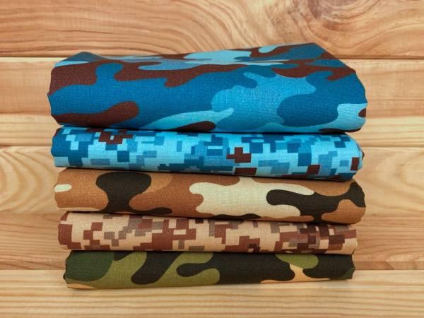 Camouflage - Stoffpäckchen - 5 Fat Quarter je ca. 50 x 55 cm